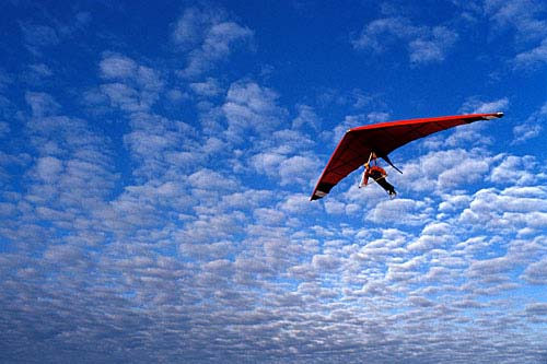 picture of a beautiful hanglider in the blue sky